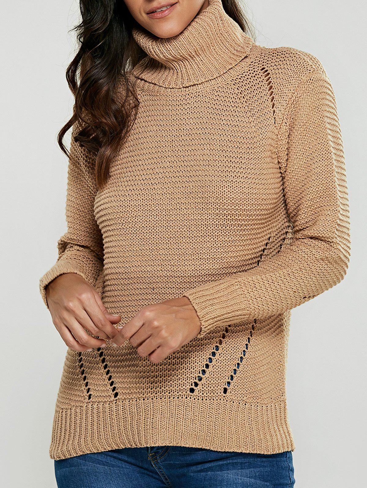 Best Turtleneck Hollow Out Pullover Sweater