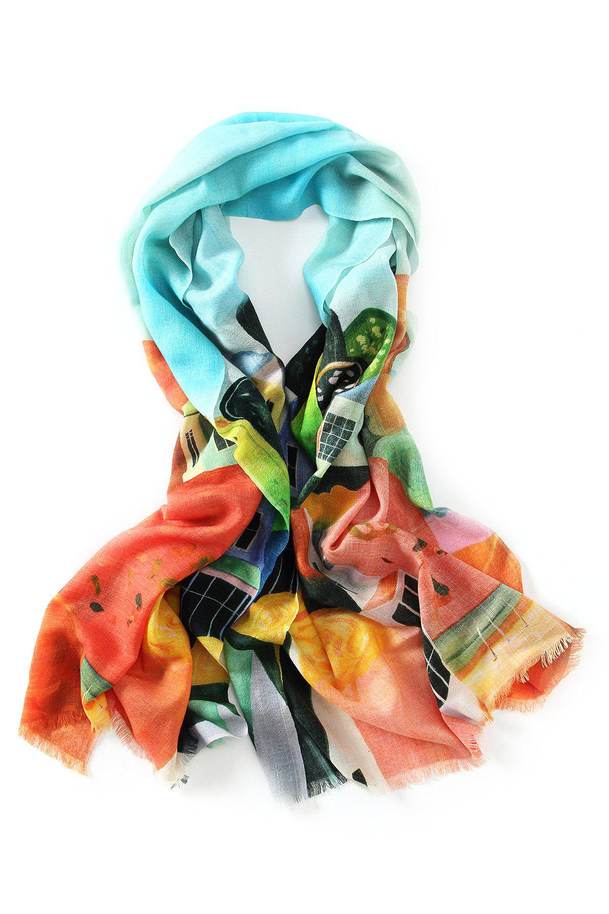 Best Innocence Watercolor House Painting Fringed Wool Scarf