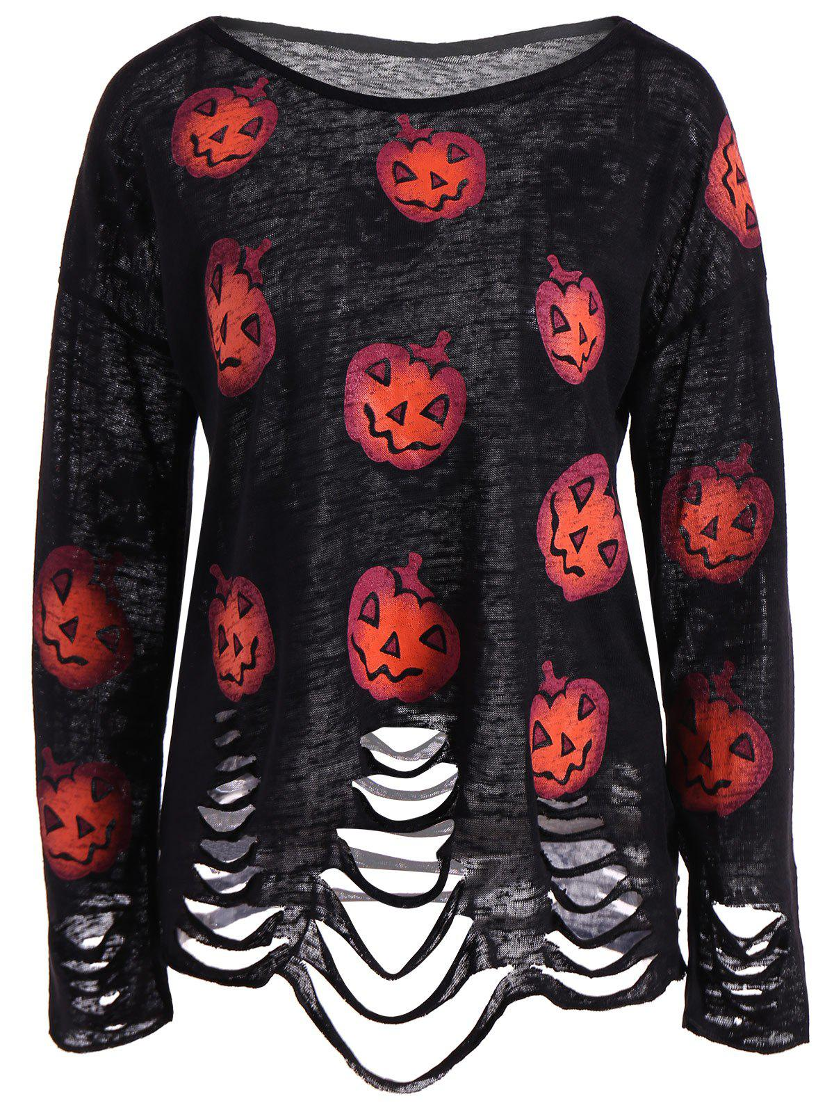 Outfits Pumpkin Ripped Halloween Knitwear