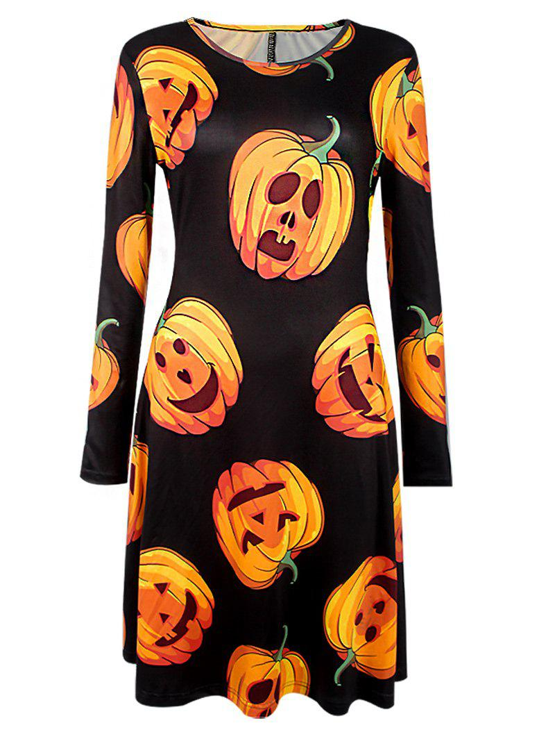 Halloween Pumpkin Print Long Sleeve DressWOMEN<br><br>Size: S; Color: BLACK; Style: Gothic; Material: Cotton Blend,Polyester; Silhouette: A-Line; Dresses Length: Knee-Length; Neckline: Round Collar; Sleeve Length: Long Sleeves; Pattern Type: Print; With Belt: No; Season: Fall,Spring; Weight: 0.251kg; Package Contents: 1 x Dress;