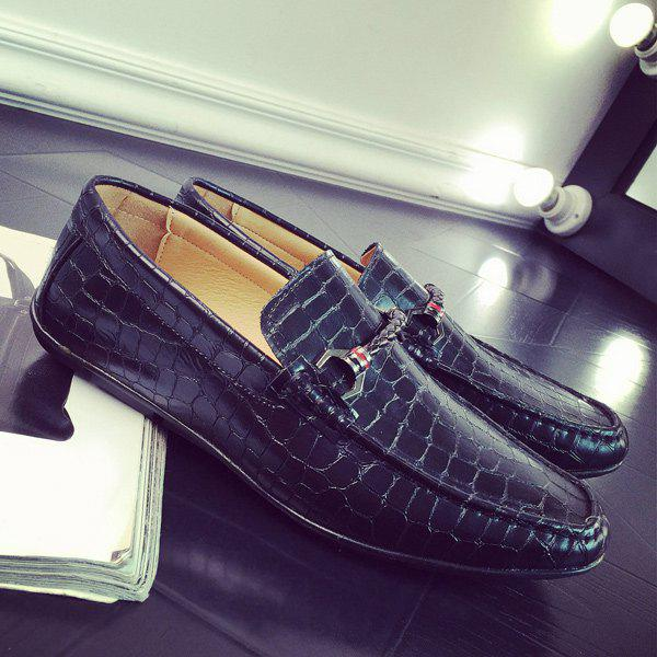 Trendy PU Leather Metal Embossing Casual Shoes