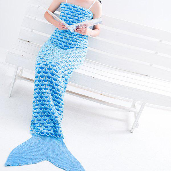 Affordable Warmth Fish Scale Pattern Wrap Mermaid Tail Blanket