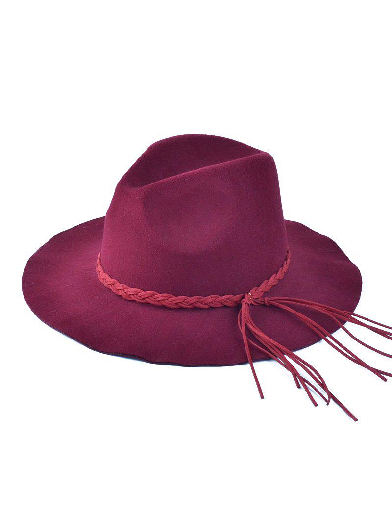 30% OFF   2018 Braided Tassel Floppy Felt Hat  27e4fc6cca4c