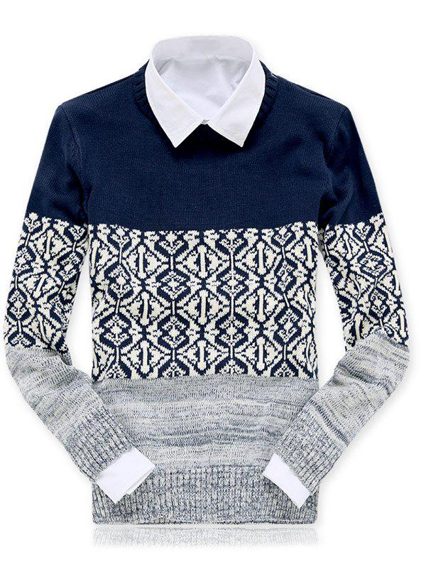 Ras du cou Color Block Spliced ​​géométrique Motif Pull Bleu M