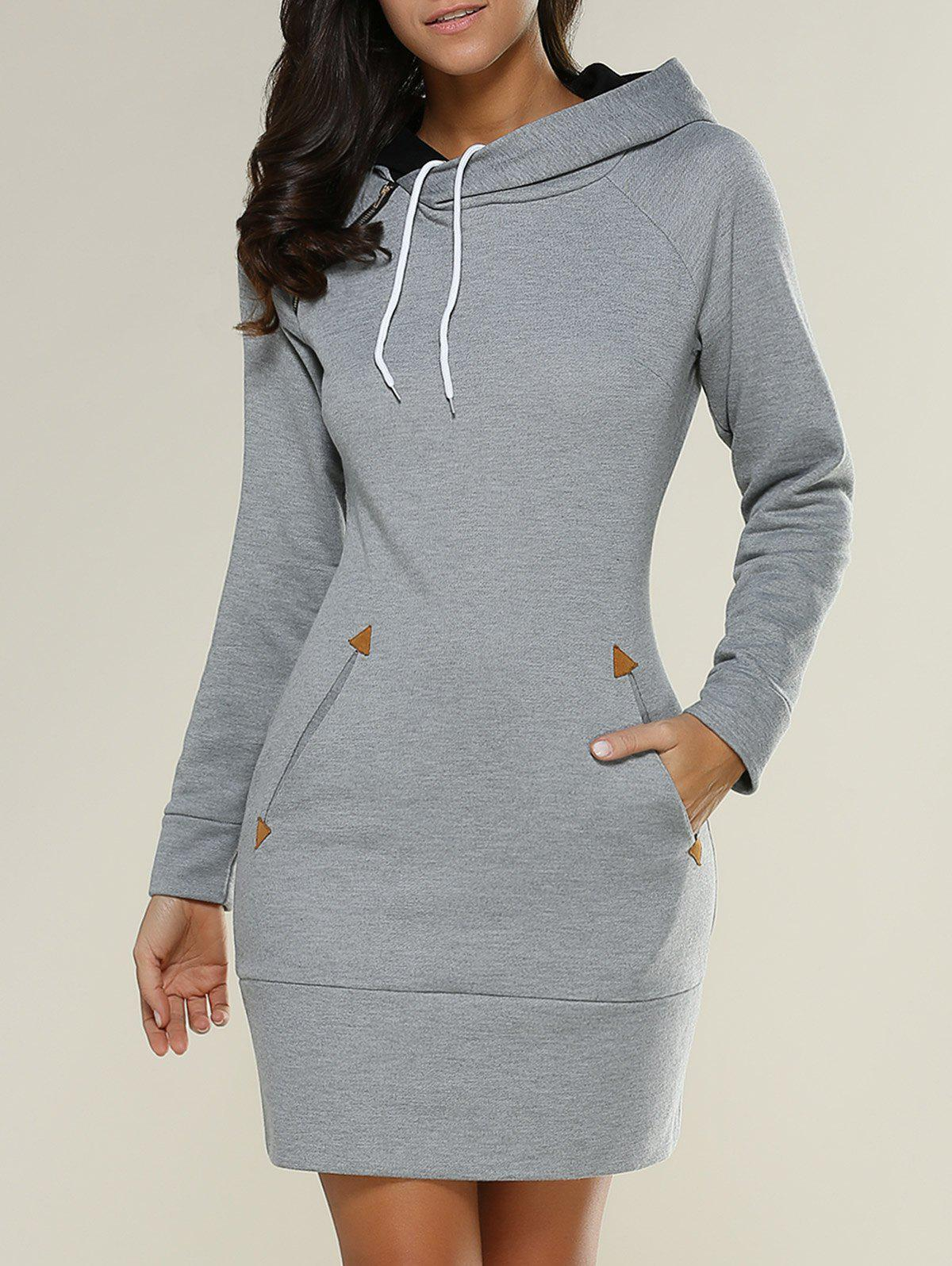 Tight Short Long Sleeve Long Hoodie Mini DressWOMEN<br><br>Size: M; Color: GRAY; Style: Casual; Material: Polyester; Silhouette: Sheath; Dresses Length: Mini; Neckline: Hooded; Sleeve Length: Long Sleeves; Embellishment: Pockets; Pattern Type: Solid; With Belt: No; Season: Fall,Spring; Weight: 0.612kg; Package Contents: 1 x Hoodie Dress;