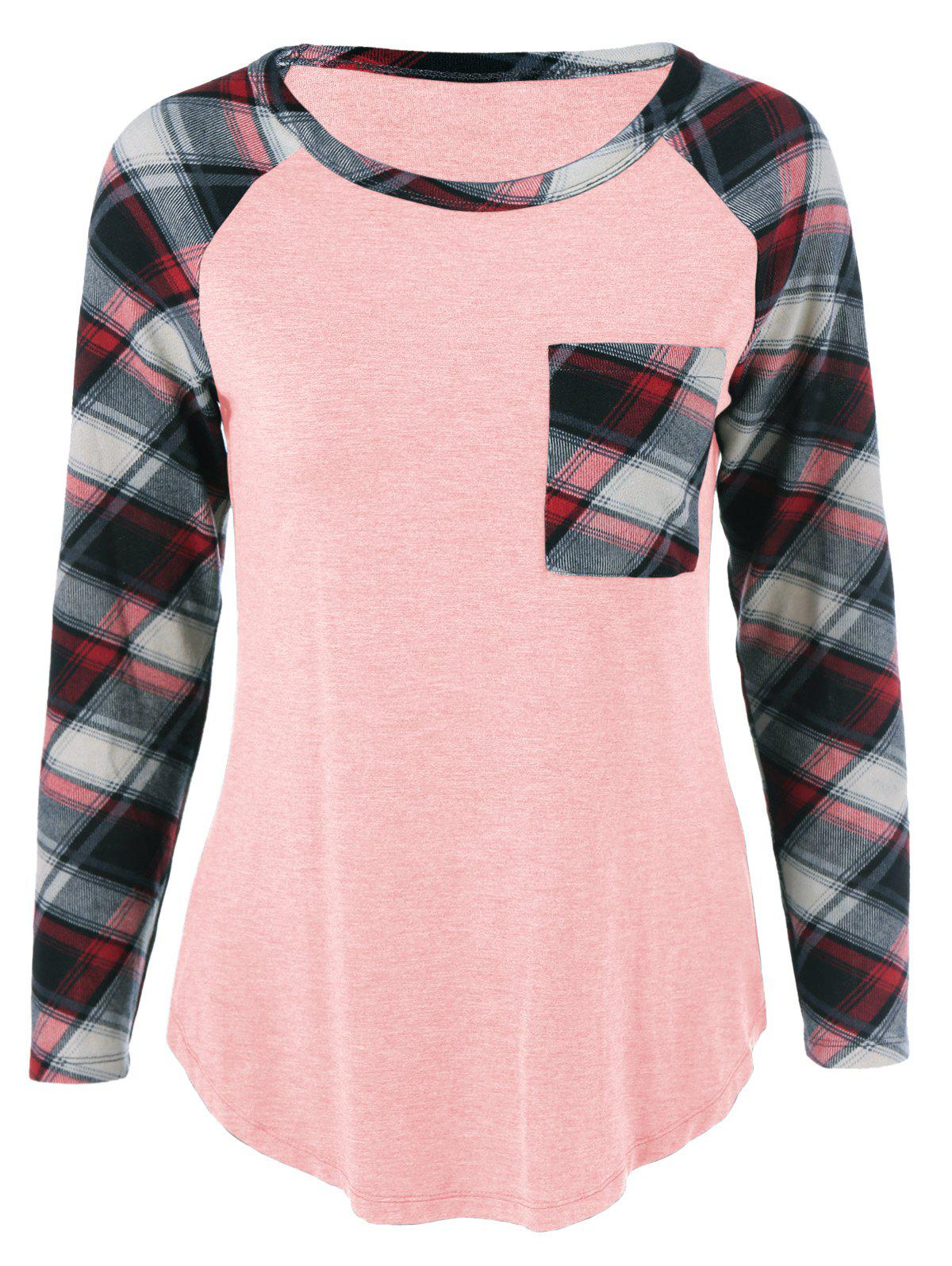 Plus Size One Pocket Plaid Long Sleeve T-ShirtWOMEN<br><br>Size: 2XL; Color: SHALLOW PINK; Material: Cotton Blends,Spandex; Shirt Length: Long; Sleeve Length: Full; Collar: Scoop Neck; Style: Casual; Season: Fall,Spring,Summer; Pattern Type: Plaid; Weight: 0.2460kg; Package Contents: 1 x T-Shirt;