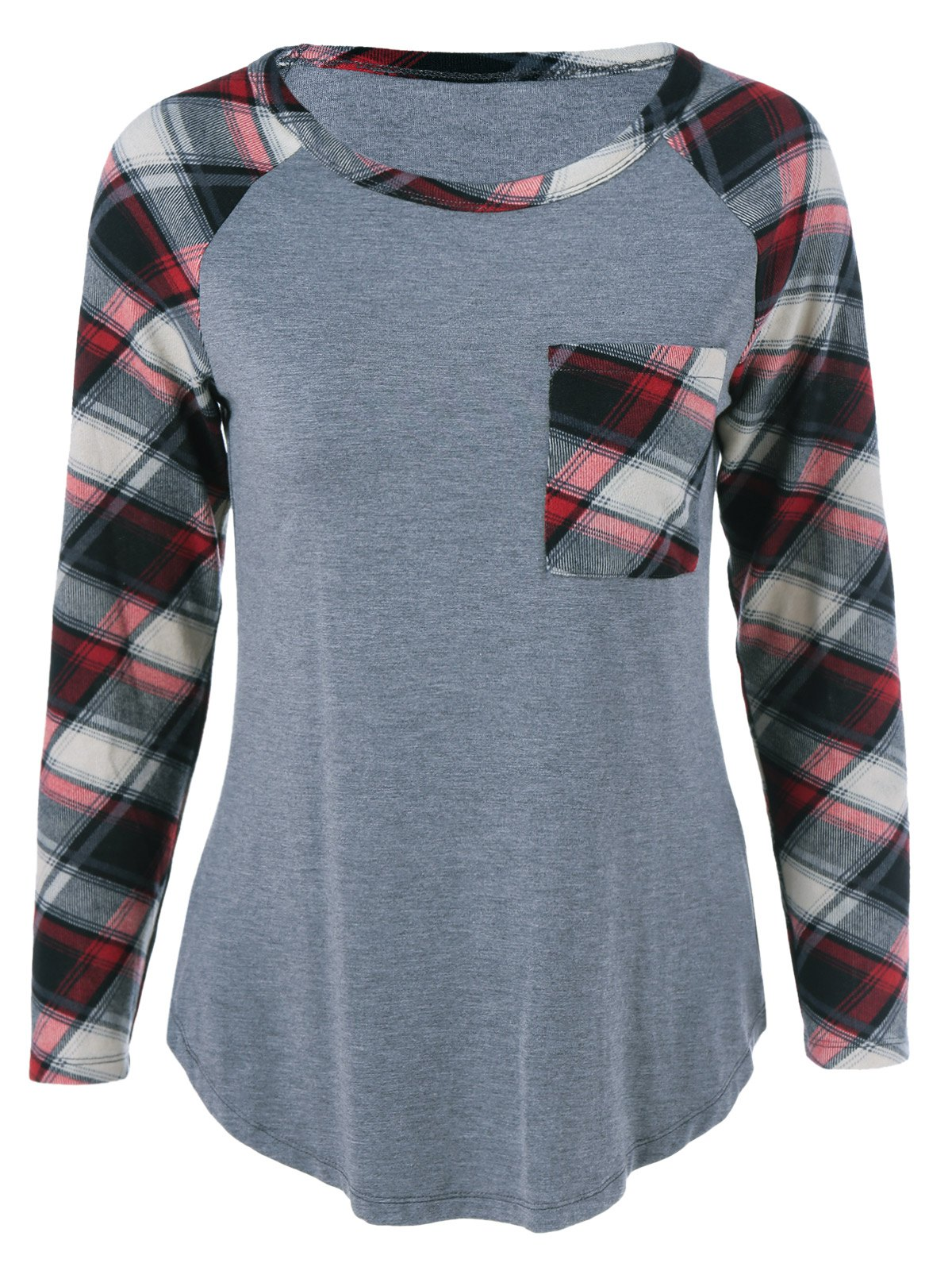 Plus Size One Pocket Plaid Long Sleeve T-ShirtWOMEN<br><br>Size: XL; Color: GRAY; Material: Cotton Blends,Spandex; Shirt Length: Long; Sleeve Length: Full; Collar: Scoop Neck; Style: Casual; Season: Fall,Spring,Summer; Pattern Type: Plaid; Weight: 0.2460kg; Package Contents: 1 x T-Shirt;