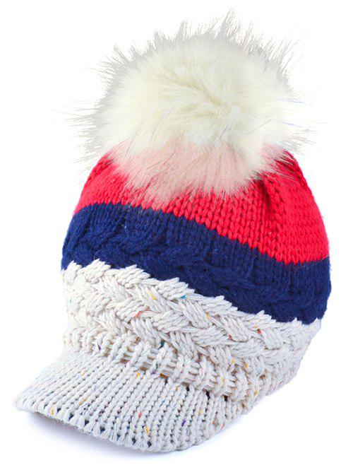 Trendy Outdoor Woolen Yarn Ball Color Block Knitted Beanie