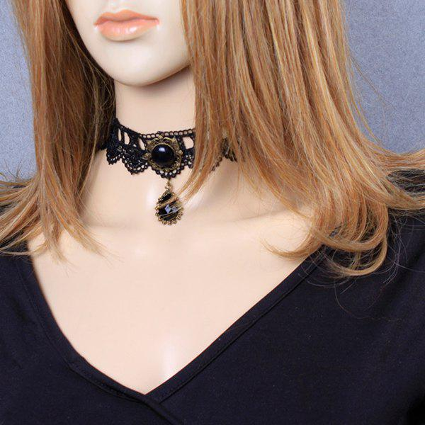 Filigree Teardrop Crochet Lace Choker NecklaceJEWELRY<br><br>Color: BLACK; Item Type: Chokers Necklace; Gender: For Women; Material: Lace; Metal Type: Alloy; Style: Classic; Shape/Pattern: Water Drop; Weight: 0.020kg; Package Contents: 1 x Necklace;