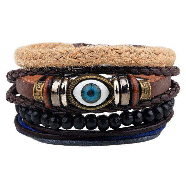 Evil Eye Bead Braided BraceletsJEWELRY<br><br>Color: COFFEE; Item Type: Wrap Bracelet; Gender: For Men; Chain Type: Beads Bracelet,Rope Chain; Style: Trendy; Shape/Pattern: Others; Weight: 0.050kg; Package Contents: 1 x Bracelets (Suit);