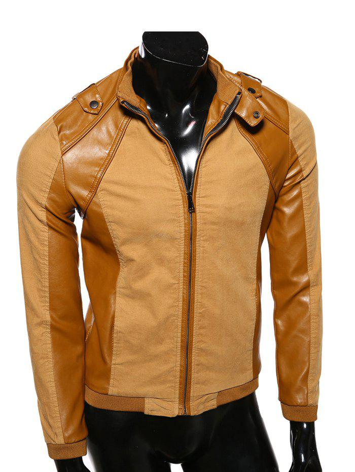 Buy Stand Collar PU-Leather Splicing Epaulet Design Jacket