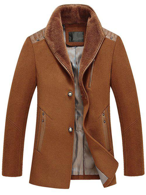 Online PU Splicing Zip Up Woolen Blend Coat