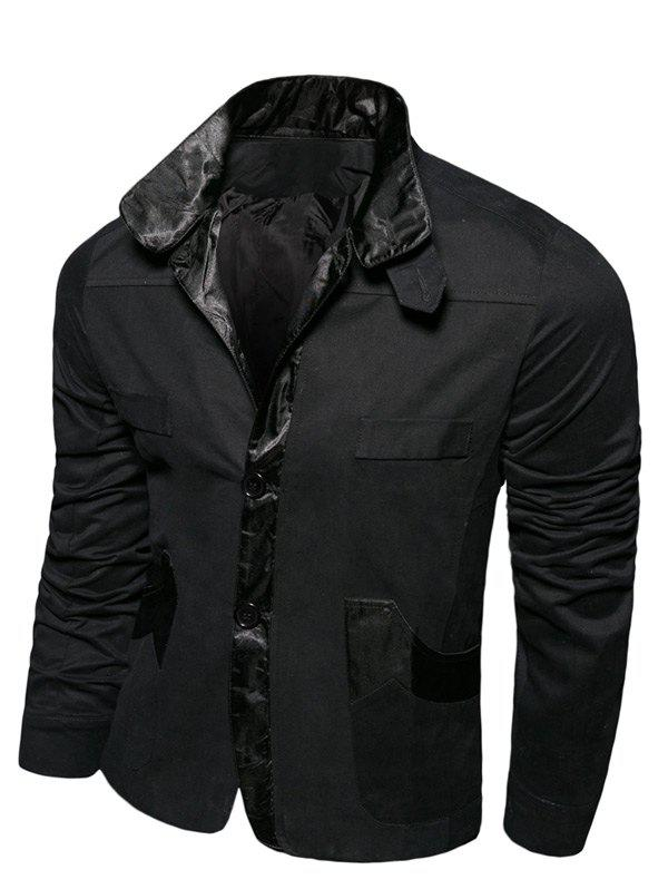 Splicing Metallic Turn-Down Collar Single-breasted Jacket Noir L