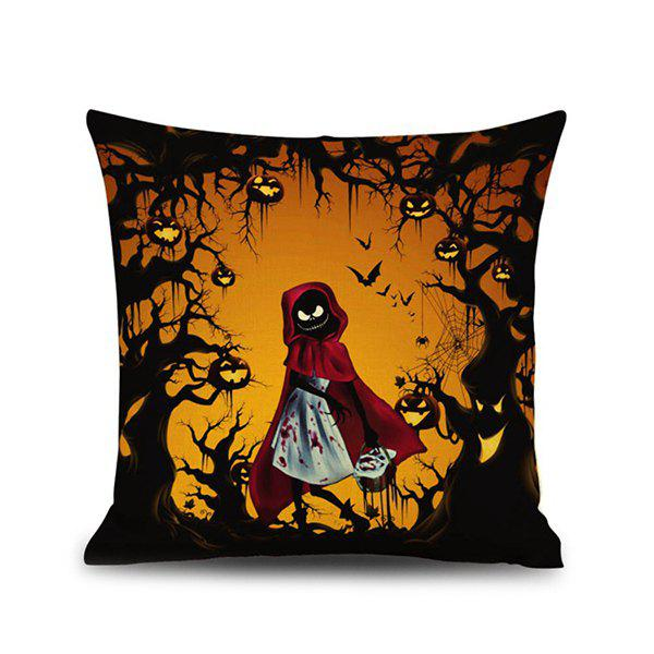 Sofa Cushion Halloween Night Ghost Printed Pillow CaseHOME<br><br>Color: COLORMIX; Material: Linen; Pattern: Printed; Style: Retro; Shape: Square; Size(CM): 45*45; Weight: 0.120kg; Package Contents: 1 x Pillow Case;