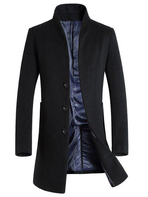 Single-Breasted Woolen Blend Stand Collar CoatMEN<br><br>Size: L; Color: BLACK; Clothes Type: Wool &amp; Blends; Style: Fashion; Material: Cotton,Wool; Collar: Stand Collar; Shirt Length: Long; Sleeve Length: Long Sleeves; Season: Winter; Weight: 1.153kg; Package Contents: 1 x Coat;