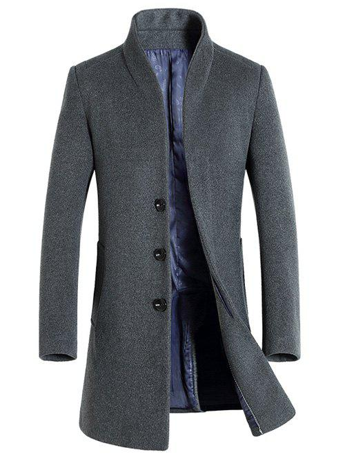 Buy Single-Breasted Woolen Blend Stand Collar Coat