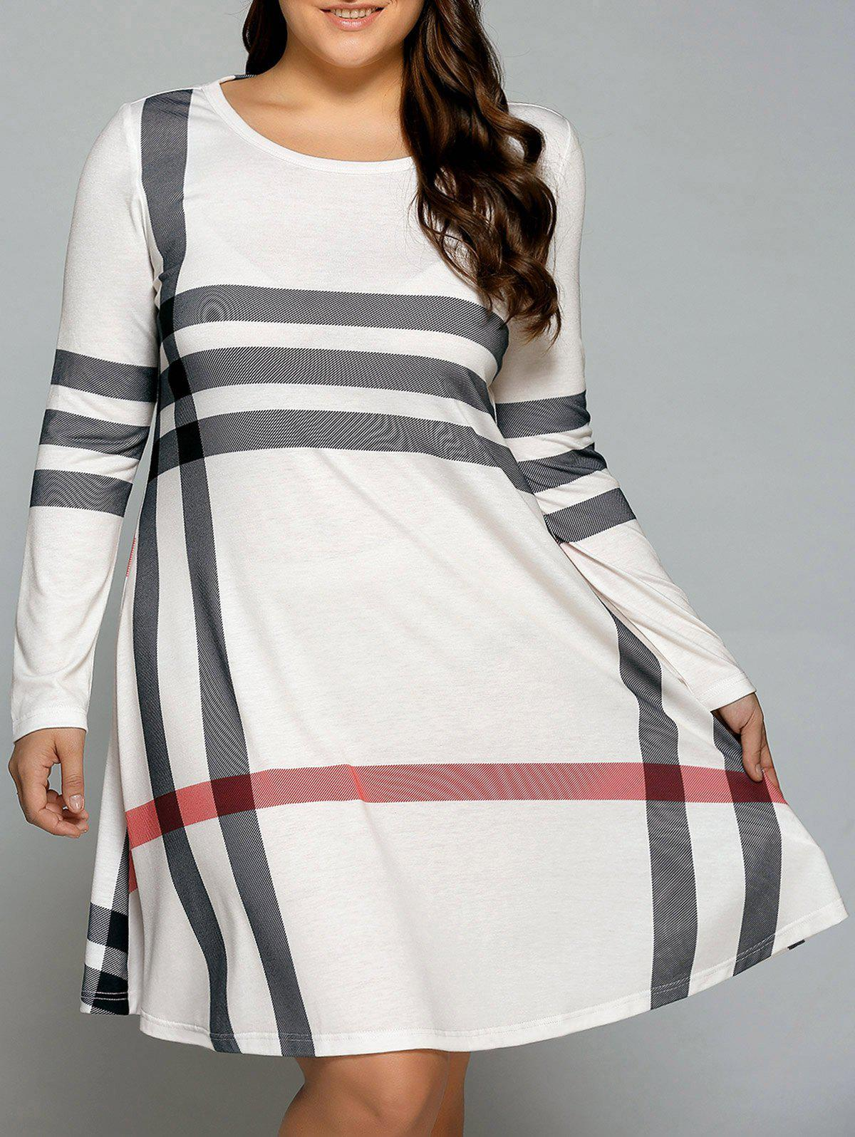 Plus Size Long Sleeve Striped Tee DressWOMEN<br><br>Size: 5XL; Color: OFF-WHITE; Style: Casual; Material: Polyester,Spandex; Silhouette: A-Line; Dresses Length: Knee-Length; Neckline: Scoop Neck; Sleeve Length: Long Sleeves; Pattern Type: Striped; With Belt: No; Season: Fall,Spring,Summer; Weight: 0.3800kg; Package Contents: 1 x Dress;