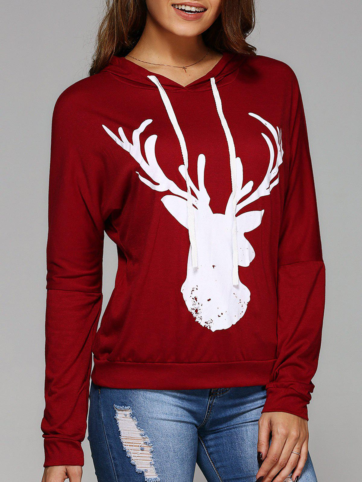 Long Sleeve Deer Print Christmas Hooded T-ShirtWOMEN<br><br>Size: L; Color: RED; Material: Cotton Blends; Sleeve Length: Full; Collar: Hooded; Style: Casual; Embellishment: 3D Print; Pattern Type: Animal; Season: Fall,Summer; Weight: 0.252kg; Package Contents: 1 x T-Shirt;