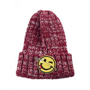 Winter Smile Face Safety Pin Knitted Hat - Deep Red