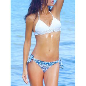 Halterneck Flower Scalloped Knitted Bikini
