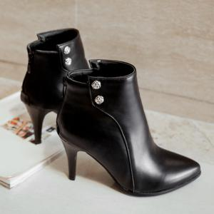Pointed Toe Faux Leather Back Zip Boots - Black - 42