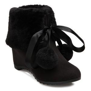 Pompon Tie Up Hidden Wedge Ankle Boots