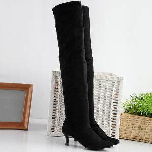 Flock Kitten Heel Round Toe Thigh Boots