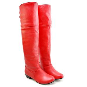 Tie Up Flat Heel PU Leather Knee High Boots - Red - 42
