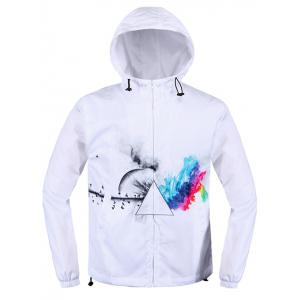 Prism Printing Drawstring Hooded Zip Up Jacket