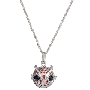 Rhinestone Owl Locket Pregnant Bead Necklace - Silver