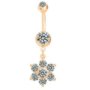 Layered Rhinestone Flower Belly Button Jewelry - Golden - L