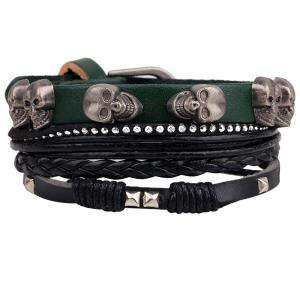 Skull Rivet Faux Leather Braided Bracelet - Green
