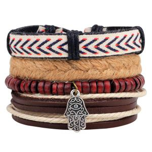Layered Palm Bead Braided Bracelet