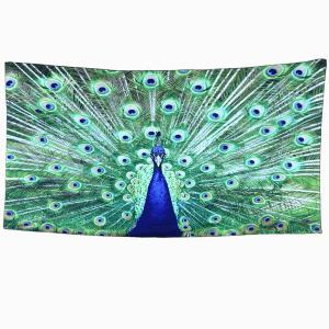 Blue Peafowl Rectangle Scarf