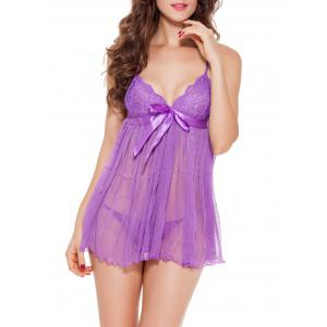 See-Through Backless Mesh Babydoll
