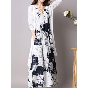 Maxi Elastic Waist Printed Dress and Cardigan - Deep Blue - 5xl