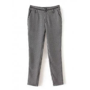 Plaid Printed Back Pocket Pants