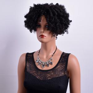 Fluffy Short Afro Curly Side Bang Synthetic Capless Wig