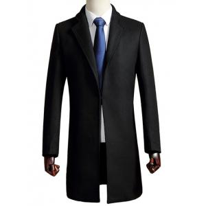 Long Style Tailored Collar Woolen Blend Coat - Black - Xl