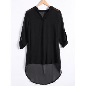 Asymmetrical Chiffon Shirt Tunic Dress