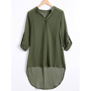 Hemming Sleeves Asymmetric Loose Chiffon Dress
