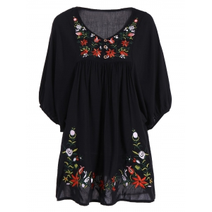 Embroidered Plus Size Casual Flower Dress - Black - Xl