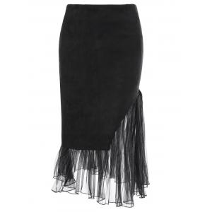 Tulle Insert Faux Suede Skirt