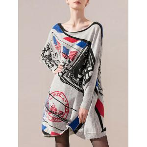Color Block Print Bat Sleeve Knit Dress - Gray - One Size