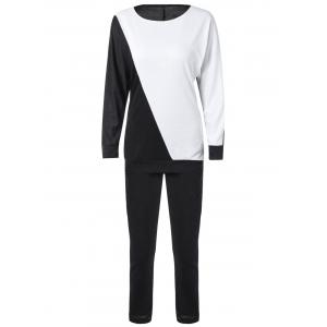 Long Sleeve Color Block Sweatshirt with Pants - White And Black - L