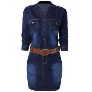 Buttoned Long Sleeve Plus Size Denim Dress - Blue - Xl