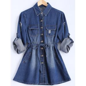 Button Down Denim Casual Shirt Dress - Blue - Xl
