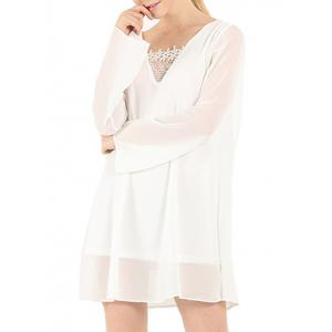 Chiffon Long Sleeve Tunic Shift Dress - White - Xl