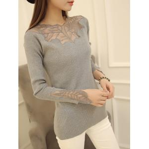Embellished Ribbed Slim Fit Sweater - Gray - One Size