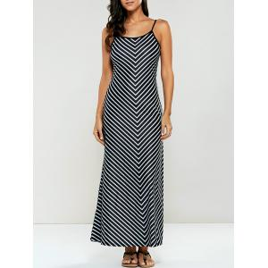 Spaghetti Strap Striped Jersey Maxi Dress - Stripe - L
